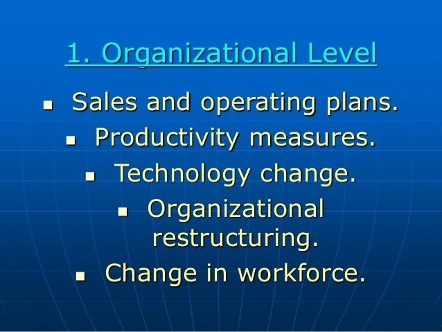 1. Organizational Level  Sales and operating plans.  Productivity measures.  Technology change.  Organizational restru...