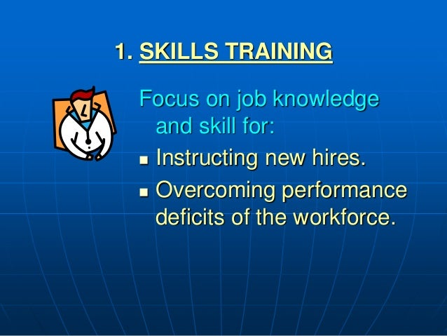 1. SKILLS TRAINING Focus on job knowledge and skill for:  Instructing new hires.  Overcoming performance deficits of the...