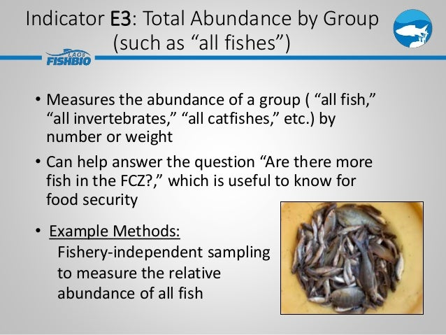 """Indicator E3: Total Abundance by Group (such as """"all fishes"""") • Measures the abundance of a group ( """"all fish,"""" """"all inver..."""