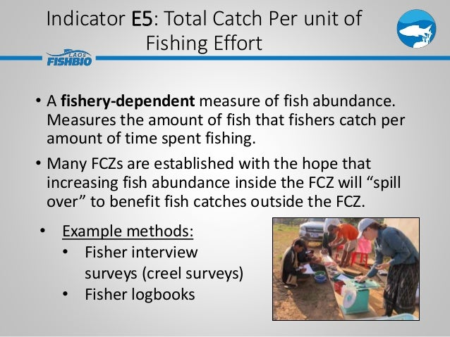 Indicator E5: Total Catch Per unit of Fishing Effort • A fishery-dependent measure of fish abundance. Measures the amount ...