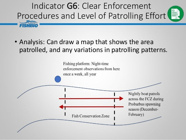 • Analysis: Can draw a map that shows the area patrolled, and any variations in patrolling patterns. Indicator G6: Clear E...