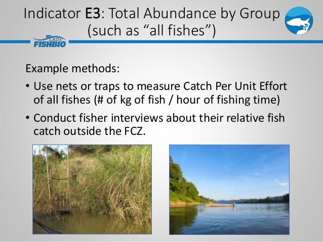 Example methods: • Use nets or traps to measure Catch Per Unit Effort of all fishes (# of kg of fish / hour of fishing tim...