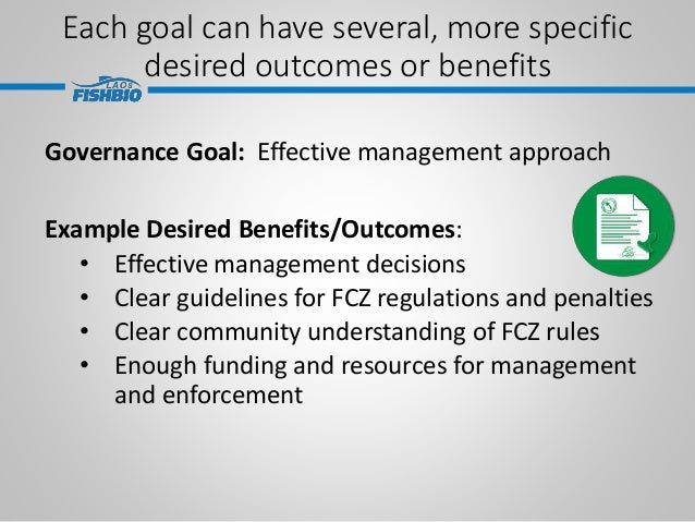 Each goal can have several, more specific desired outcomes or benefits Governance Goal: Effective management approach Exam...