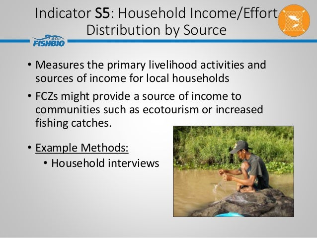 Indicator S5: Household Income/Effort Distribution by Source • Measures the primary livelihood activities and sources of i...