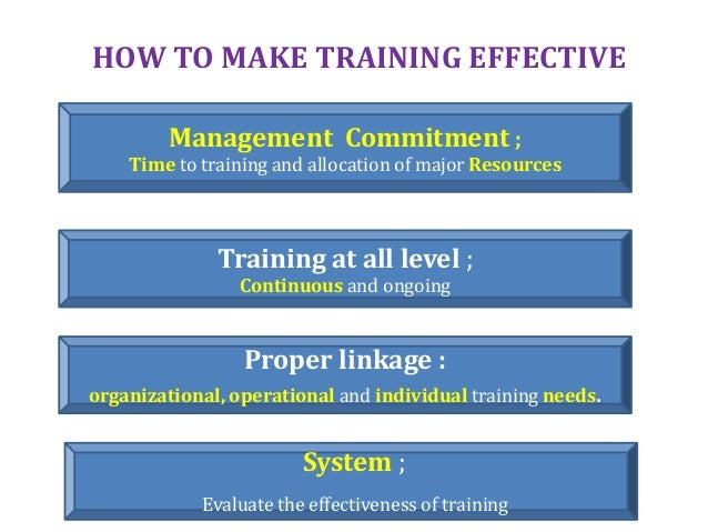 HOW TO MAKE TRAINING EFFECTIVE Management Commitment ; Time to training and allocation of major Resources Training at all ...