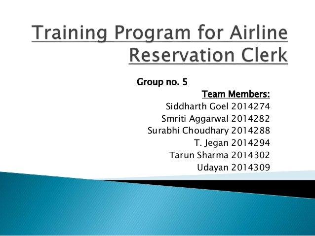 Training Program For Airline Reservation Clerk