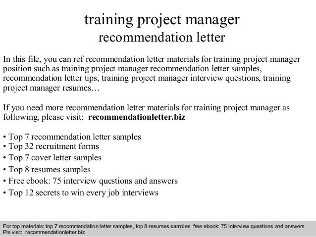 Training project manager recommendation letter