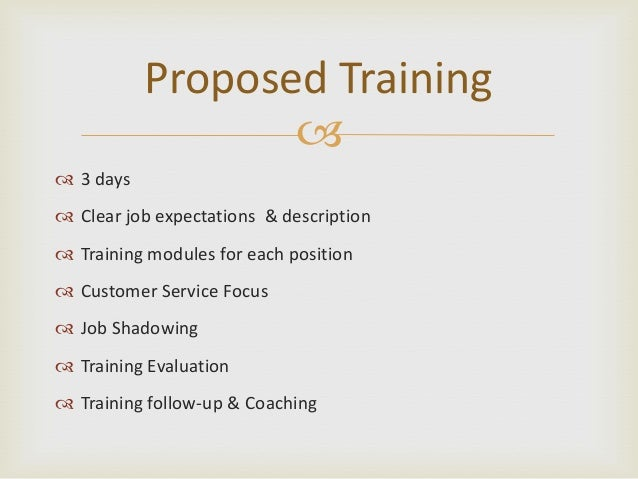 8 proposed training