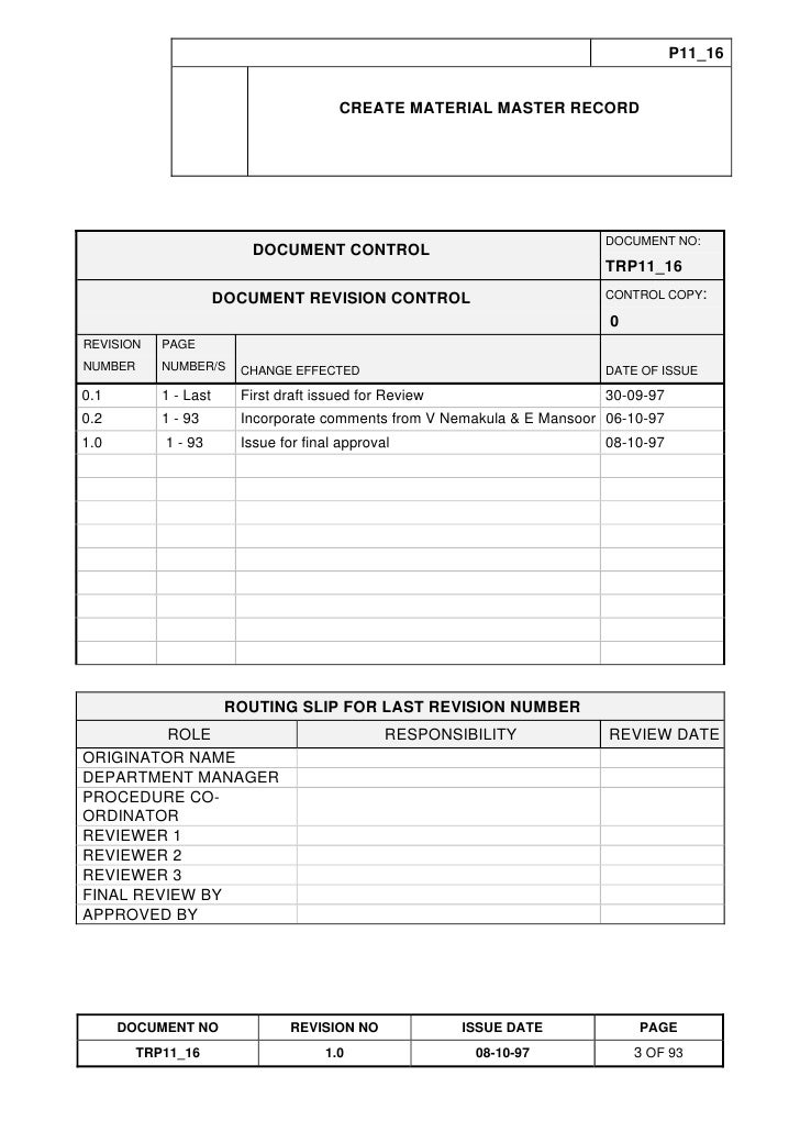 Training Reference Document Template