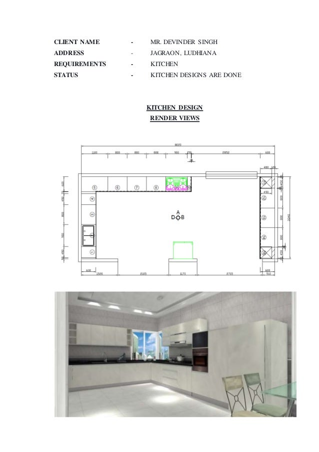 Training report interior designing for Kitchen 95 ludhiana