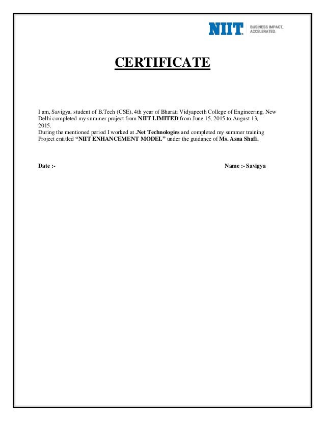 Summer training report certificate yadclub Image collections