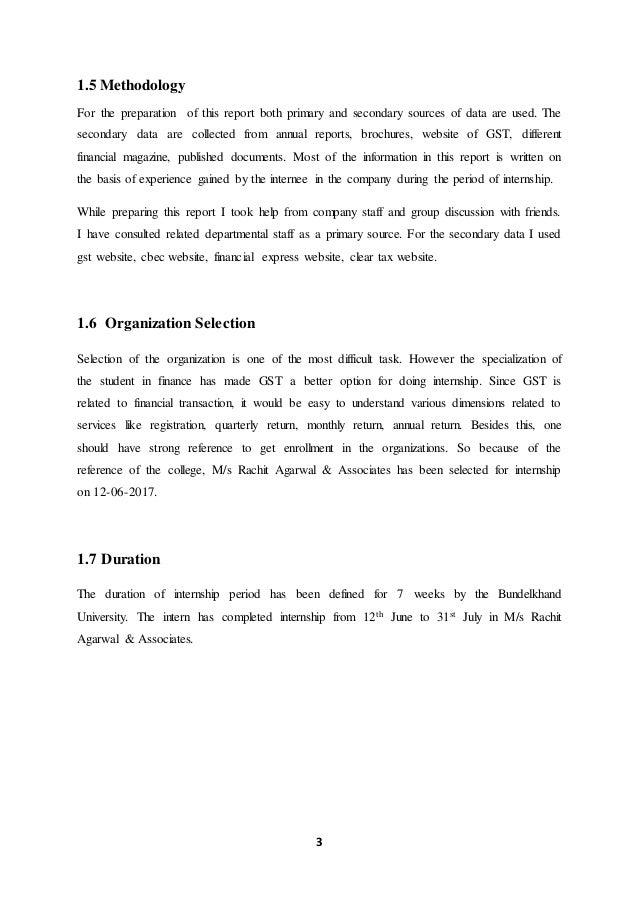 Mcom Summer Training Report On Gst
