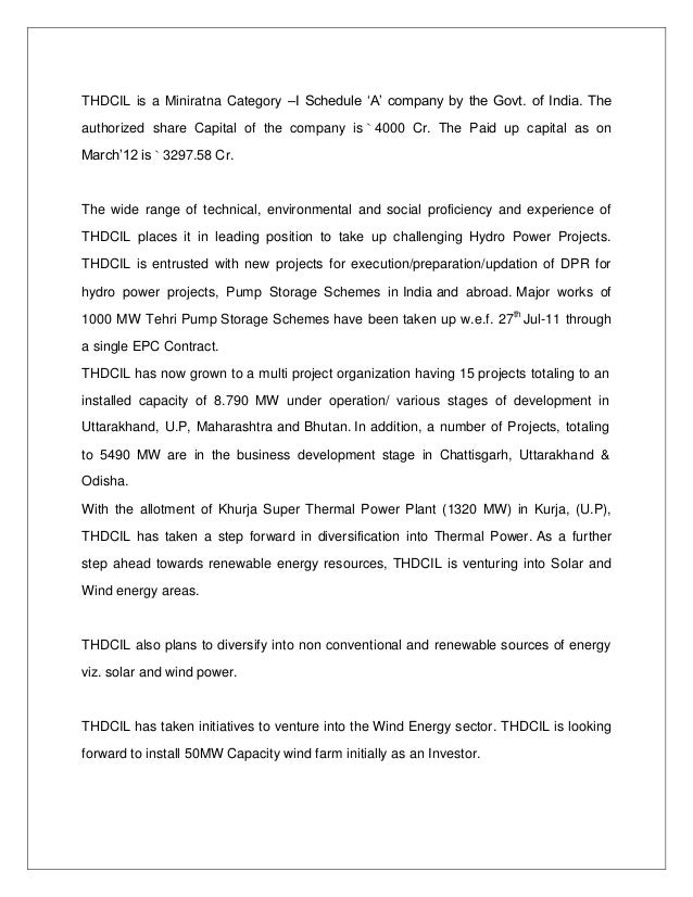 training report on server thdc tehri hydro dam coorporation  6