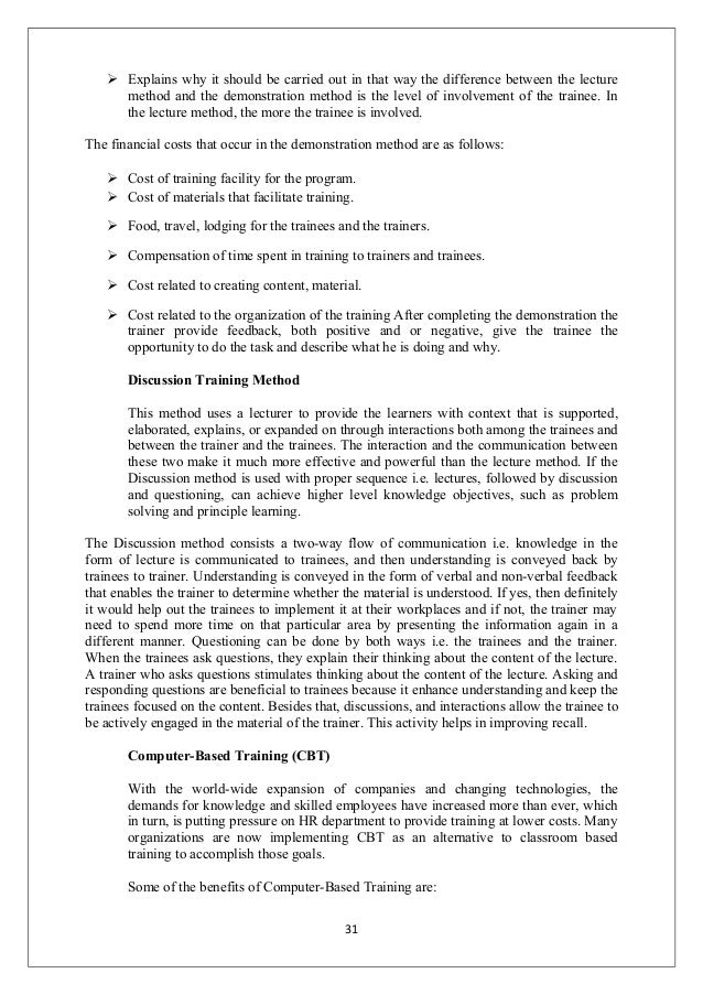Term paper on training and development