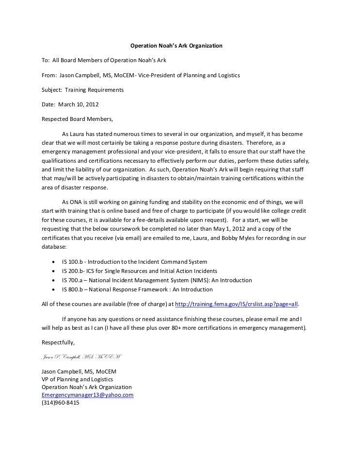 Operation Noah's Ark OrganizationTo: All Board Members of Operation Noah's ArkFrom: Jason Campbell, MS, MoCEM- Vice-Presid...