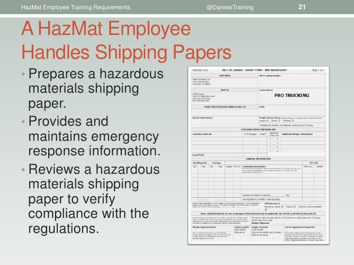 Shipping Papers Hazardous Materials