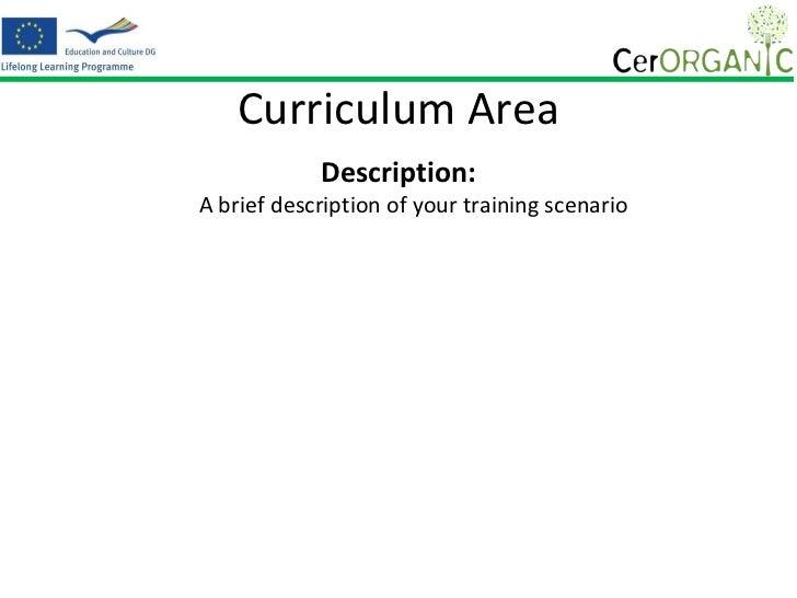 Template of a training scenario presentation