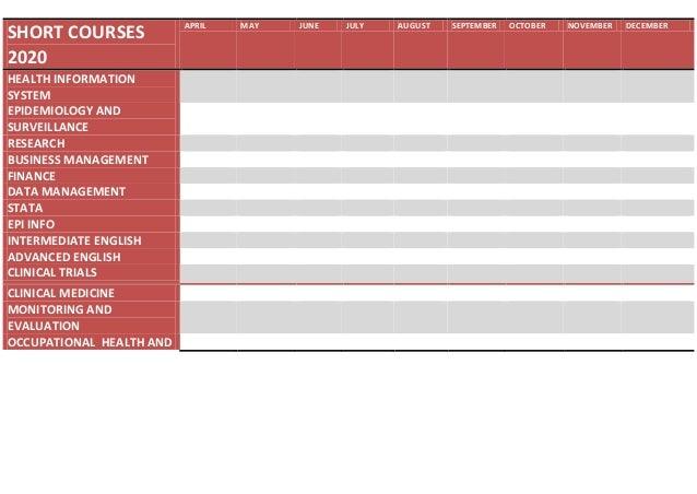 Training schedule 2020