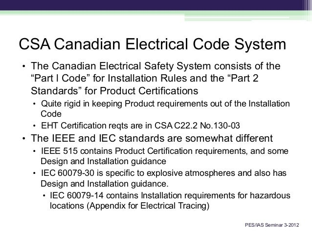 Canadian Electrical Code : Training seminar standards heat tracing options