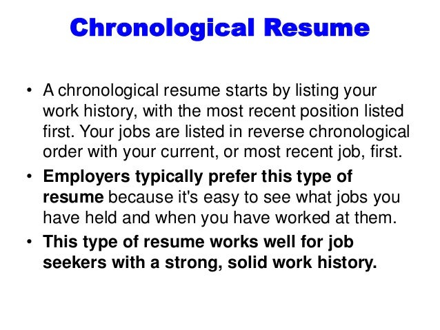 8. Chronological Resume ...