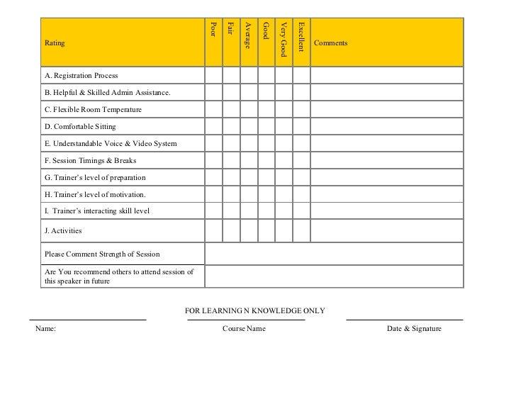 training course evaluation form