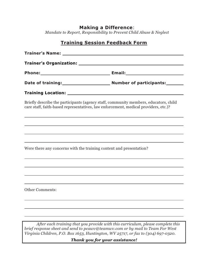 Training Session Feedback Form. Making A Difference: Mandate To Report,  Responsibility To Prevent Child Abuse ...