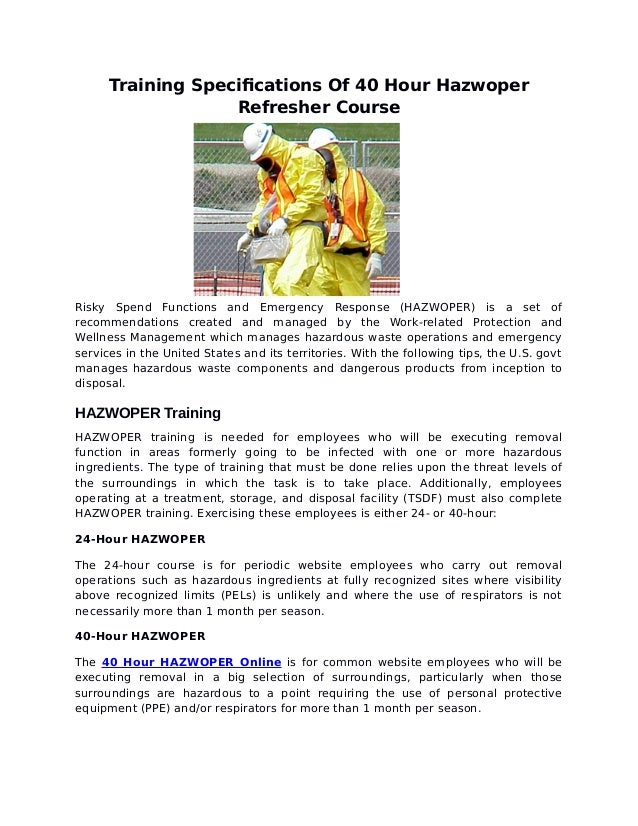 training specifications of 40 hour hazwoper refresher course