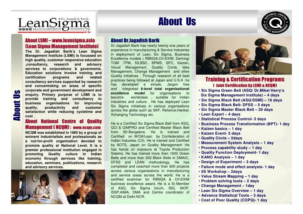About Us            About LSMI – www.leansigma.asia               About Dr.Jagadish Barik            (Lean Sigma Managemen...