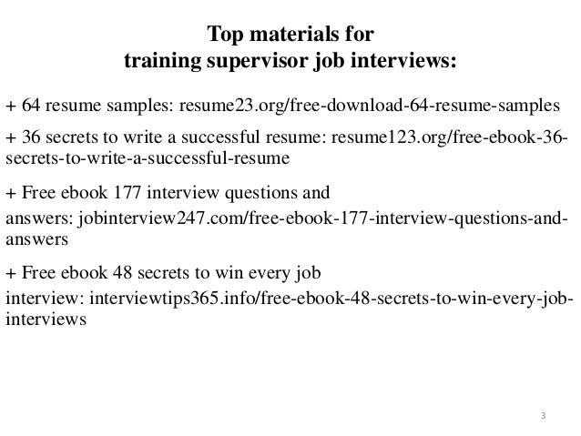 Training supervisor resume sample pdf ebook free download