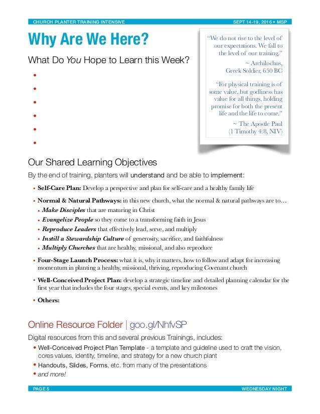 Workbook: Church Planter Training Intensive, Minneapolis MN, Sept 14-…