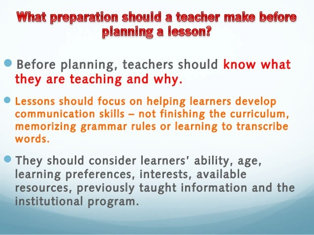 what to know before planning a lesson