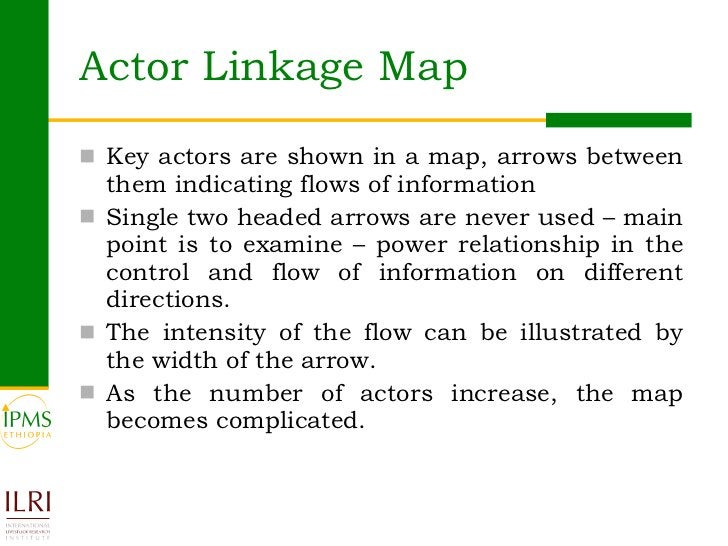 Actor Linkage Map <ul><li>Key actors are shown in a map, arrows between them indicating flows of information  </li></ul><u...
