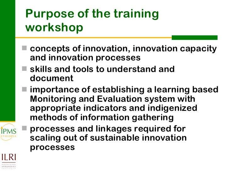 Purpose of the training workshop <ul><li>concepts of innovation, innovation capacity and innovation processes </li></ul><u...