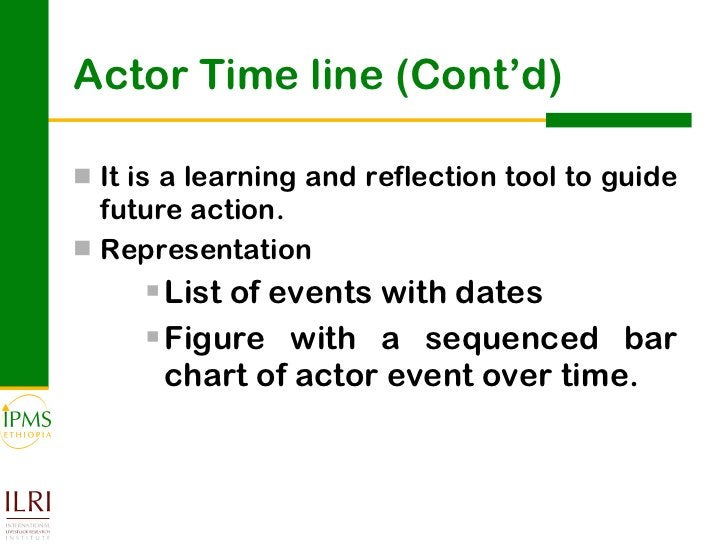 Actor Time line (Cont'd) <ul><li>It is a learning and reflection tool to guide future action.  </li></ul><ul><li>Represent...