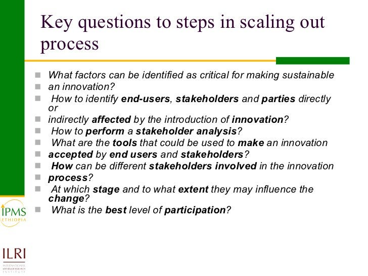 Key questions to steps in scaling out process <ul><li>What factors can be identified as critical for making sustainable </...