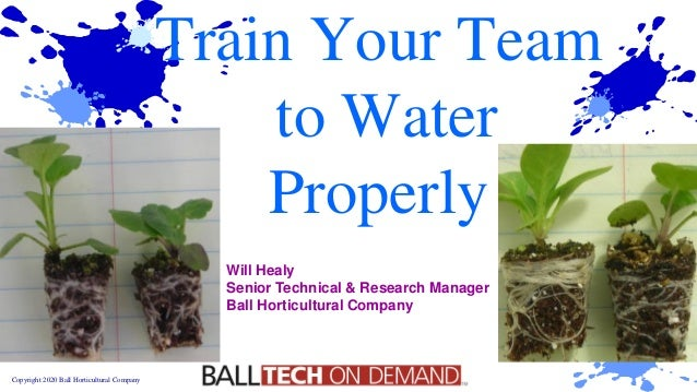 Copyright 2020 Ball Horticultural Company Train Your Team to Water Properly Will Healy Senior Technical & Research Manager...