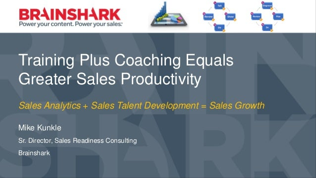 Training Plus Coaching Equals Greater Sales Productivity Training Plus Coaching Equals Greater Sales Productivity Mike Kun...