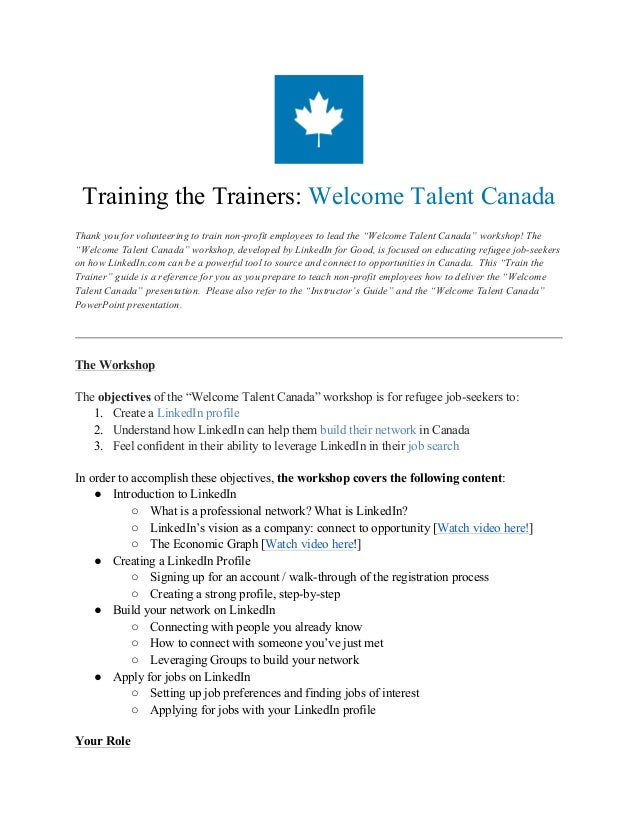 """Training the Trainers: Welcome Talent Canada Thank you for volunteering to train non-profit employees to lead the """"Welcome..."""