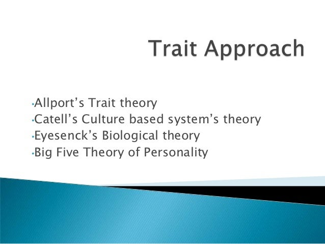 •Allport's Trait theory•Catell's Culture based system's theory•Eyesenck's Biological theory•Big Five Theory of Personality