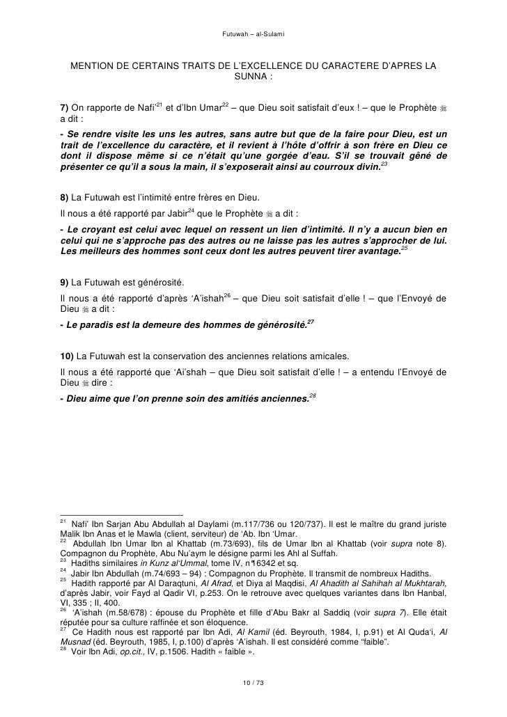 Futuwah – al-Sulami         MENTION DE CERTAINS TRAITS DE L'EXCELLENCE DU CARACTERE D'APRES LA                            ...