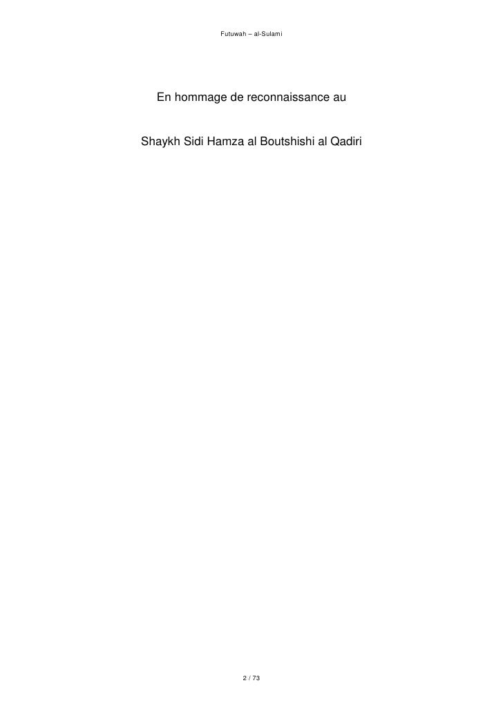 Futuwah – al-Sulami       En hommage de reconnaissance au   Shaykh Sidi Hamza al Boutshishi al Qadiri                     ...