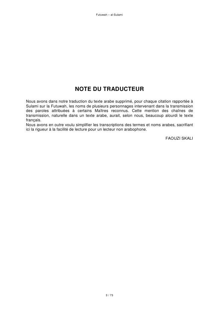 Futuwah – al-Sulami                                NOTE DU TRADUCTEUR Nous avons dans notre traduction du texte arabe supp...