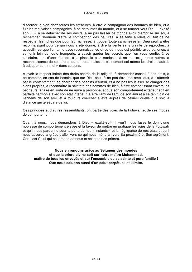 Traité de chevalerie soufie   futuwah - sulami - livre entier