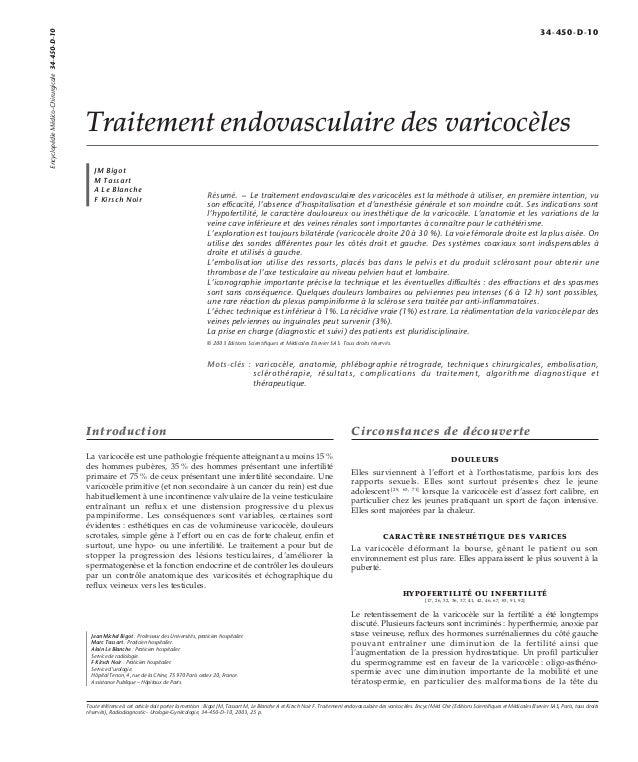 Traitement endovasculaire des varicocèles  JM Bigot  M Tassart  A Le Blanche  F Kirsch Noir Résumé. – Le traitement endova...