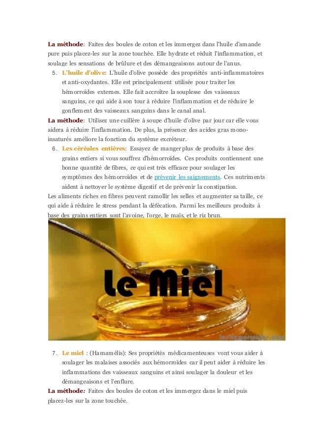 huile olive hemorroides