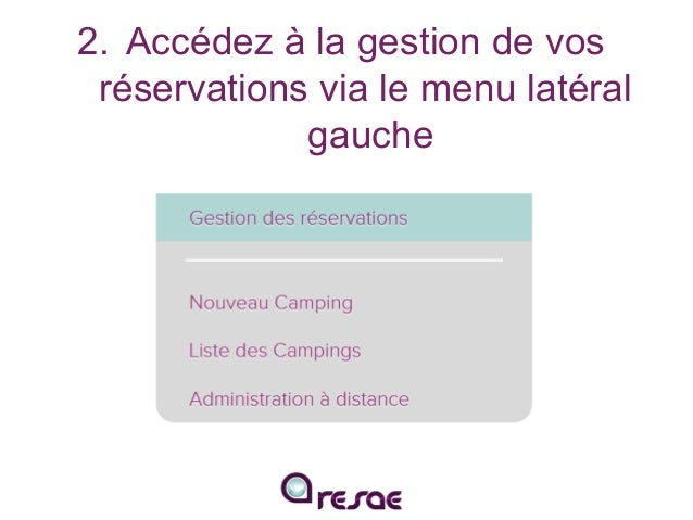 Traitez vos réservations en ligne avec RESAE Slide 3