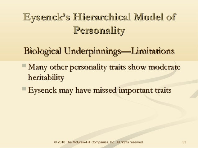 comparing and contrasting cattells sixteen factor model with eysencks hierarchial model Trait theory of personality  source traits - sixteen basic dimensions of personality which are the roots of all behavior  (five-factor model.