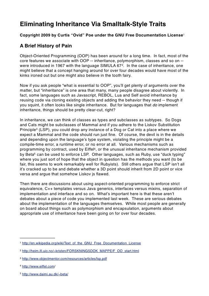"Eliminating Inheritance Via Smalltalk-Style Traits Copyright 2009 by Curtis ""Ovid"" Poe under the GNU Free Documentation Li..."