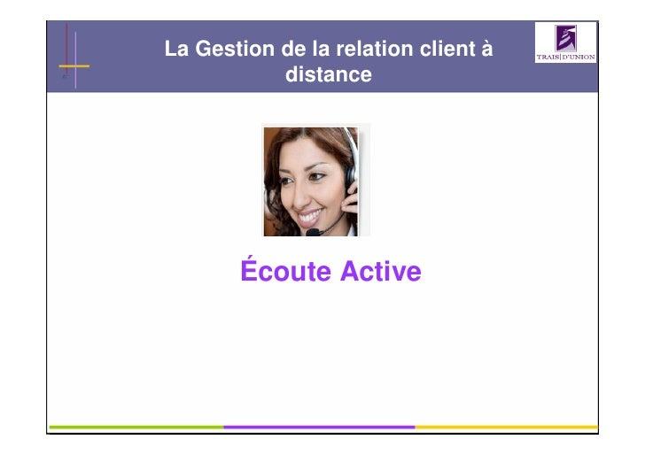 La Gestion de la relation client à            distance            Écoute Active                   GRC                   1