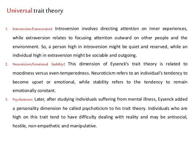 cattell and eysenck trait and factor theories The ocean of personality if you look at the theories we've discussed so far, not only within the trait theory camp, but also those of hans eysenck and even sigmund freud, you may start to notice some commonalities many different researchers, from different schools of thought have studied the.